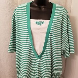 Koret Francisca Green White Striped Floral Shirt